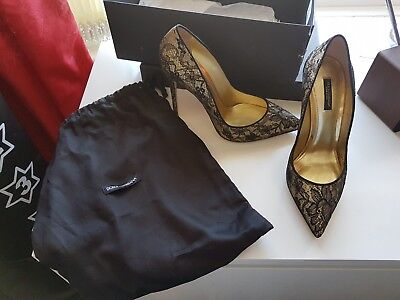 £200 • Buy Dolce & Gabbana Gold And Black Lace Heels/Shoes Ladies Size 7 (Eu40)