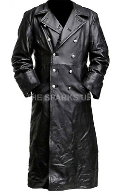 German Classic Ww2 Military Officer Uniform Black Leather Trench Coat Big Sale • 129.98£