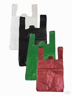 PLASTIC VEST CARRIER BAGS Small Medium Large XL ALL SIZES And Colours • 3.95£