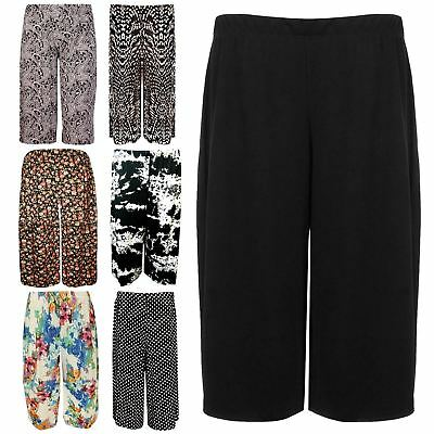 £4.99 • Buy New Womens Plus Size Stretch Elasticated Wide Leg Culottes Shorts 16-26