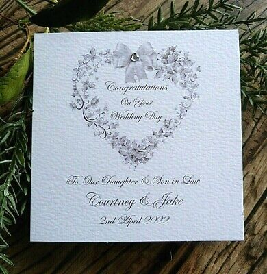 £4.20 • Buy Personalised Handmade Congratulations Wedding Day Card 6  Square Floral Heart SA