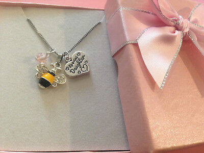 Cute Bumble Bee Children Adult Heart Charm Necklace N Gift Box Choose Charm  • 5.99£