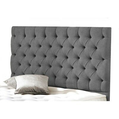 NEW LUXURY Buttoned COLCHESTER BED HEADBOARD IN LINEN/TURIN FABRIC 30  Height  • 39.99£