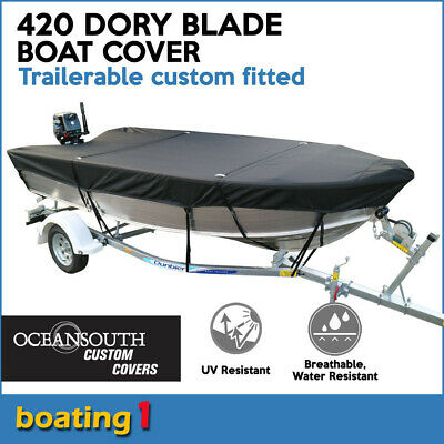AU149 • Buy Quintrex 420 DORY / Dory Blade Trailerable Custom Fitted Black Boat Cover