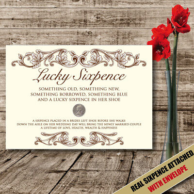 £3.96 • Buy Real Sixpence Wedding Poem Lucky Gift Idea For Brides Shoe Good Luck Charm - 26