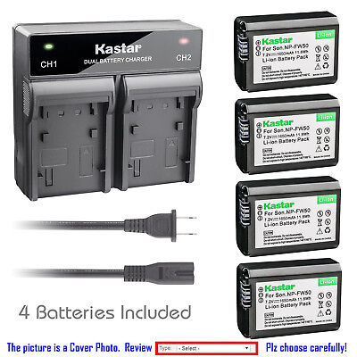 $ CDN32.72 • Buy Kastar Battery Dual Rapid Charger For Sony NP-FW50 BC-VW1 ILCE-6000 Alpha A6000