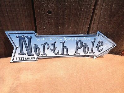 North Pole Reindeer This Way To Arrow Sign Directional Novelty Metal 17  X 5  • 13.95$