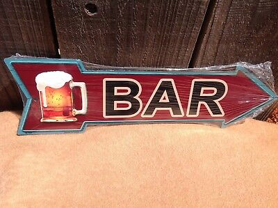 Beer Bar This Way To Arrow Sign Directional Novelty Metal 17  X 5  • 13.95$