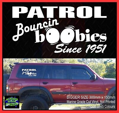 AU15.90 • Buy PATROL Stickers Accessories Ute Car MX Funny Decal BOUNCE BOOBIES BIG 300mm