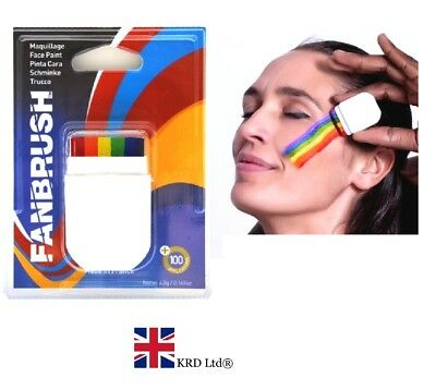 RAINBOW FLAG FACE PAINT FANBRUSH Gay Pride Face & Body Crayon Paints Painting UK • 5.10£