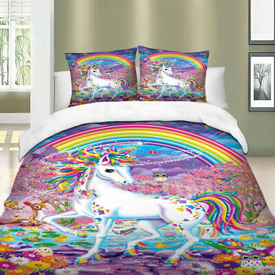 AU44.28 • Buy Unicorn Quilt/Duvet/Doona Cover Set Single/Queen/King Size Bed Rainbow Animal