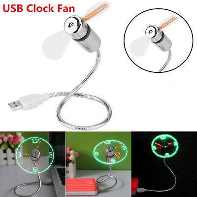 AU21.25 • Buy USB Mini Flexible Time Clock Fan With LED Light Real Time Display Cooling Gadget