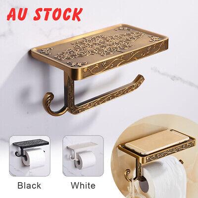 AU21.59 • Buy Toilet Roll Tissue Holder Stand Phone Shelf Bathroom Paper Holder Wall Mounted