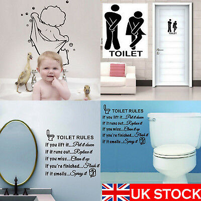 Durable Bathroom Toilet Decoration Seat Art Wall Stickers Decal Home Decor UK • 2.49£