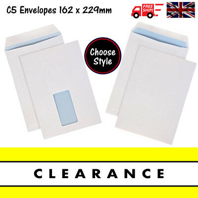 £20.99 • Buy QUALITY WHITE SELF SEAL C5 ENVELOPES PLAIN OR WITH WINDOW 90gsm Strong 162x229mm