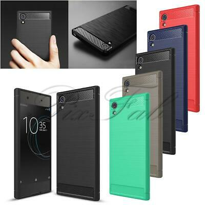 AU7.93 • Buy For Sony Xperia XA1 New Carbon Fibre Gel Phone Case Cover + Screen Protector