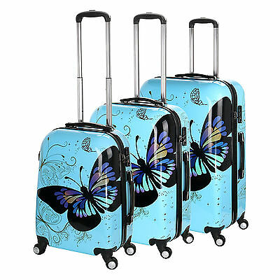 New Blue Butterfly 4-Wheel Hard Shell Suitcase PC Hand Luggage Trolley Cabin   • 29.99£