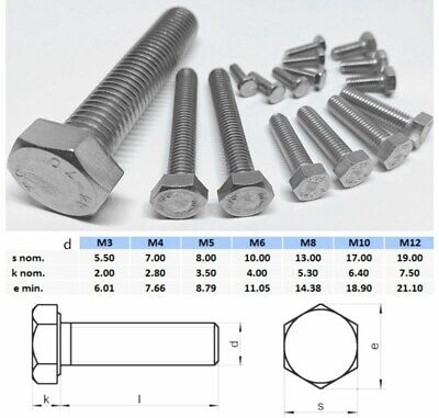 AU12.50 • Buy M6 M8 M10 M12 Hex Set Screw Stainless Steel 316 Metric Coarse Bolt Full Thread