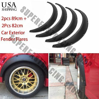 $25.90 • Buy 4 Pcs Black Universal Exterior Fender Flares Flexible Car Body Kit Wheel Arches