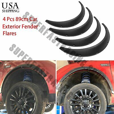 $31.38 • Buy 4 X890 Black Universal Exterior Fender Flares Flexible Car Body Kit Wheel Arches