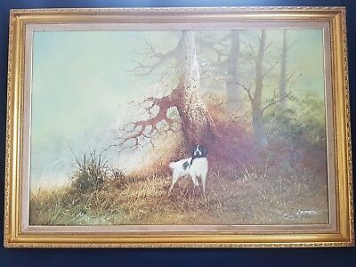 Large Framed Oil On Canvas Painting By L. Eiford Depicting A Hunting Gun Dog • 800£