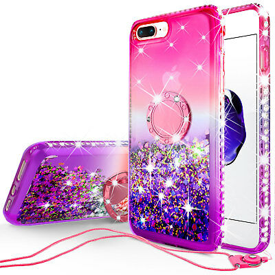 AU17.34 • Buy IPhone SE 2020/8/7 Liquid Glitter Phone Case Girls With Ring Kickstand Pink