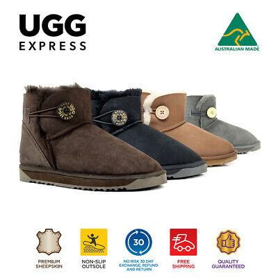 AU32 • Buy Australian Made Ladies Mini Button UGG Boots, Genuine Sheepskin, Non Slip Rubber