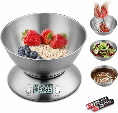 5kg Electronic Kitchen Scales Digital Stainless Steel Mixing Bowl Cooking Food • 13.99£