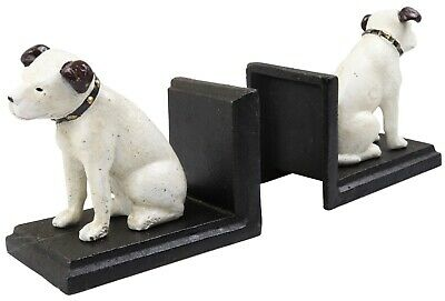 HMV Music Nipper Dog Pair - Cast Iron Bookends Ornament Figures • 20£