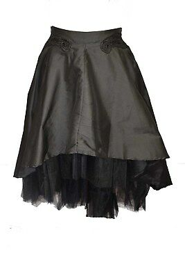 Dark Star Skirt Black With Side Zip. Polysilk And Net Material. Size 20 • 45£