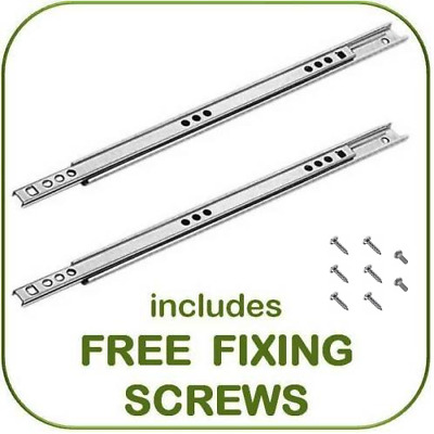 Metal Drawer Runners 17mm Wide X 350mm Per Pair Replaces Most MFI, Ikea Argos Et • 5.95£