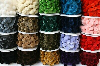 Per Metre Luxury Pom Pom Fringe Trim 25 Colours 15mm Balls  • 1.99£