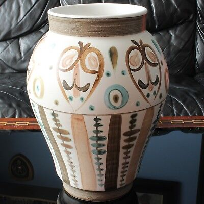 X-Large Glyn Colledge Design Langley Mill Pottery Vase, Hand-Painted 12  1960's • 65£