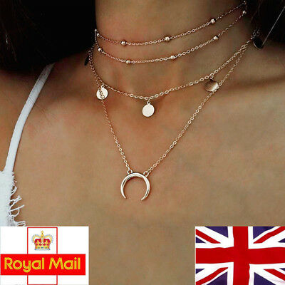 Layered Horn Choker Necklace Gold Silver Crescent Moon Double Horn UK Stock • 3.59£