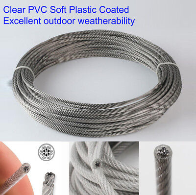 £0.99 • Buy 0.3-0.8mm 1 2 3 4 5 6mm STAINLESS Steel Clear PVC Plastic Coated Wire Rope Lot