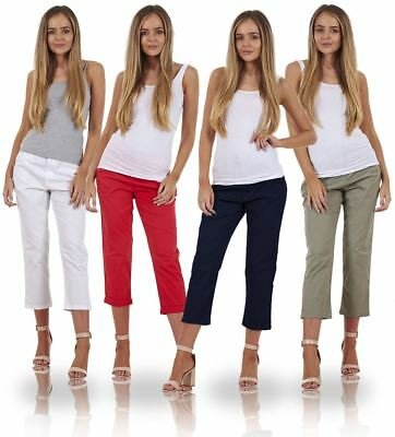 Ladies Trousers Holiday Crop Stretch 3/4 Summer Capri Pants • 11.99£