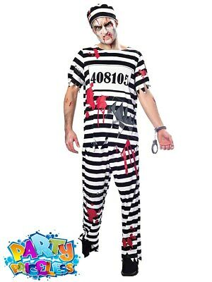 Mens Plus Size Zombie Convict Costume Prisoner Halloween Fancy Dress Outfit  • 14.99£