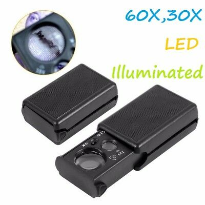 30X/60X Magnifier LED Light Jeweller Antique Eye Magnifying Optical Glass Loupe • 2.75£