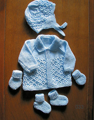 Baby Blue Matinee Set New 0 To 3 Months Hand Knitted Coat Hat Booties Mitts • 14.99£
