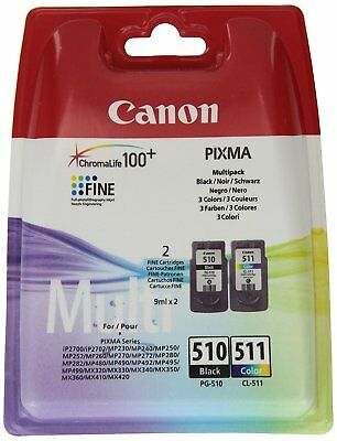 Original Canon PG510 Black & CL511 Colour Ink Cartridge For PIXMA MP230 Printer • 28.92£