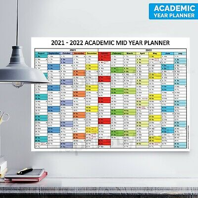 £2.99 • Buy 2021 -2022 Academic Mid Year Student Wall Planner Holidays School | A4 A3 A2 A1