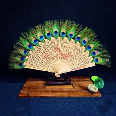 £15.07 • Buy Japanese Peacock Wooden Carved Feather Hand Folding Fan Favor Retro Gifts Green