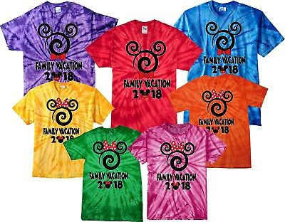 $16.99 • Buy Tie Dye Disney Family VACATION 2018 Spiral Mickey & Minnie MATCHING T-Shirts