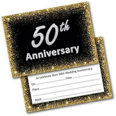 £4.99 • Buy Golden Wedding Anniversary Invitations 50th Pack Of 20 Invites And Envelopes