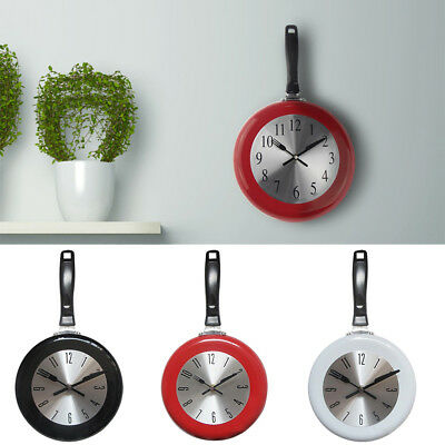 Am_ Home Decor Kitchen Wall Clock Frying Pan Small Novelty Design Metal Hot Stri • 10£