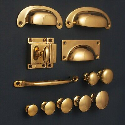Solid Brass Cabinet Knobs Cupboard Cup Pull Drawer Handles Kitchen | Polished • 3£