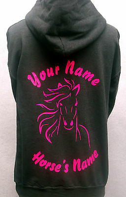 Personalised Horse Pony Outline Hoodie Hoody Printed • 16.99£