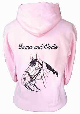 Personalised Embroidered Horse Pony Hoodie Outline, Change The Horse Colours • 18.99£