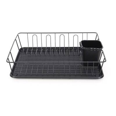 Calitek Black Kitchen Dish Drainer Rack With Drip Tray And Cutlery Holder • 14.95£
