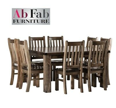 AU1299 • Buy Barossa Dining Suite 9 Piece 1 X Table 8 X Chairs 1.5m Square Solid Timber